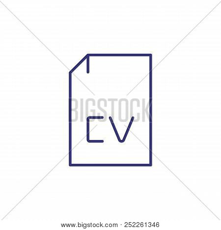 Cv Line Icon. Curriculum Vitae, Biography, Profile, Document. Work Search Concept. Can Be Used For T