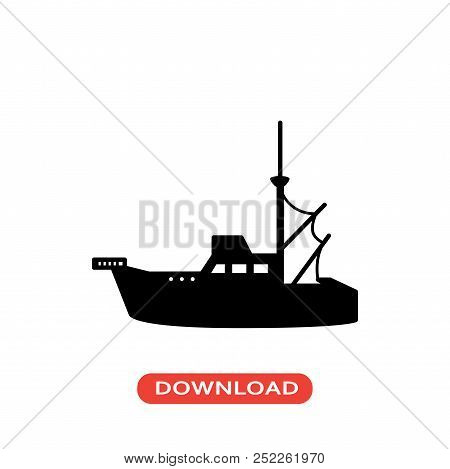 Boat Vector Icon Flat Style Illustration For Web, Mobile, Logo, Application And Graphic Design. Boat