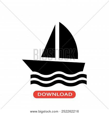 Sail Boat Vector Icon Flat Style Illustration For Web, Mobile, Logo, Application And Graphic Design.