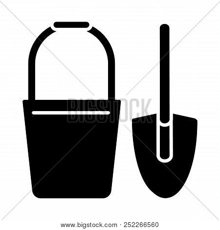 Bucket And Spade Solid Icon. Vector Illustration Isolated On White. Glyph Style Design, Designed For