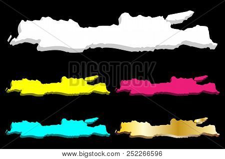 3d Map Of Java - White, Yellow, Purple, Blue And Gold - Vector Illustration