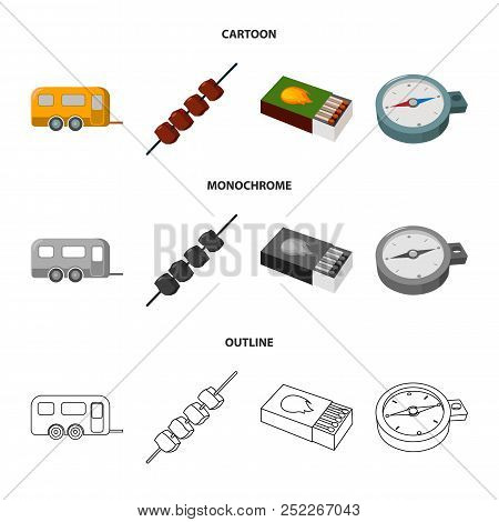 Trailer, Shish Kebab, Matches, Compass. Camping Set Collection Icons In Cartoon, Outline, Monochrome
