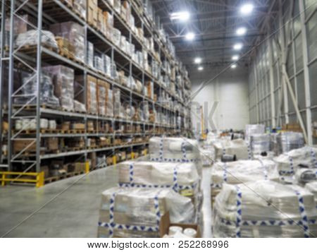 Warehouse Interior, Warehouse Industrial And Logistics Companies. Commercial Warehouse. Boxes And Cr