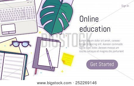 Flat Design Baner For Online Education, Training Courses, E-learning, Distance Trainings. Landing Pa