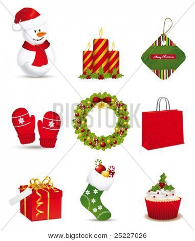 Christmas icon collection. Vector