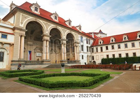 Prague, Jun 10, 2018 - Wallenstein Palace In Mala Strana, Prague Which Now Houses The Senate Of The