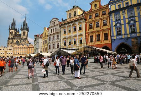 Prague, Czech Republic - Jun 11, 2018. View Of Old Town Square With Colorful Buildings And Church Of