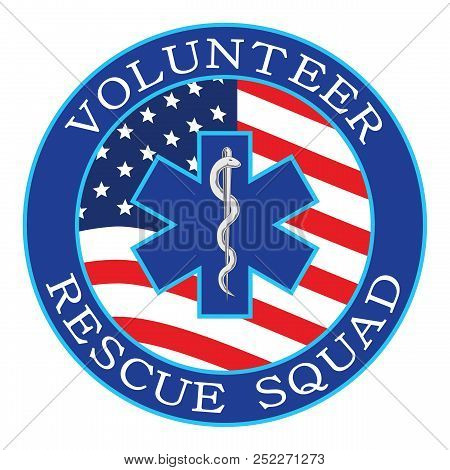Volunteer Rescue Squad Design With Flag Is An Illustration That Can Be Used To Represent Rescue Volu