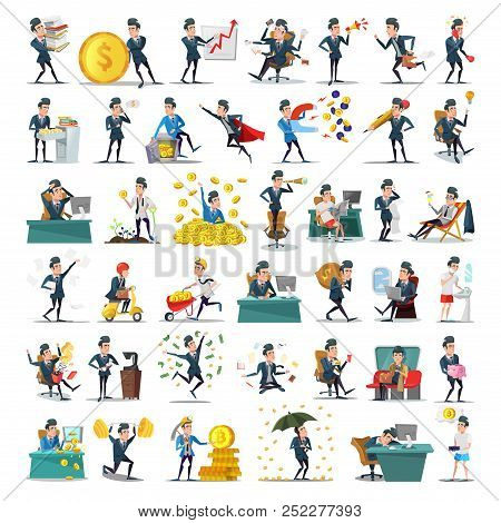 Business People Characters Collection. Cartoon Businessman In Various Poses. Motivation, Leadership,