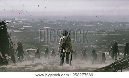 Man With Weapons Facing A Crowd Of Zombies Against Post Apocalypse World, Digital Art Style, Illustr