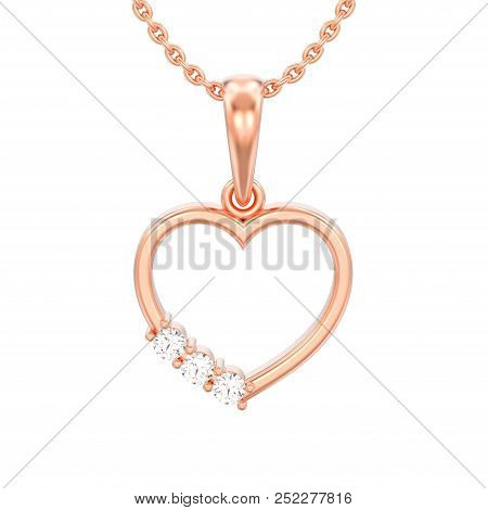 3d Illustration Isolated Jewelry Red Rose Gold Diamond Heart Necklace On Chain