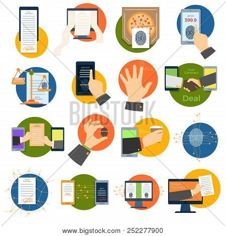 Electronic Signature Vector Set, Digital Currency, Smart Contract. Collection Of Icon, Symbols, Labe