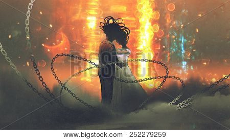 Unusual Concept Of Wedding Couple Kissing On Background Of Abstract Light, Digital Art Style, Illust