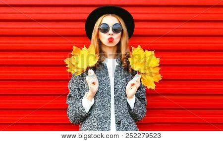Happy Cool Girl With Red Lips Holds Yellow Maple Leaves On Background