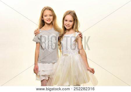 Friends. Two Girls Friends Isolated On White. Friends Day Holiday. Child Friends Are Happy Together