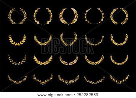 Collection Of Different Golden Silhouette Laurel Foliate, Wheat And Olive Wreaths Depicting An Award