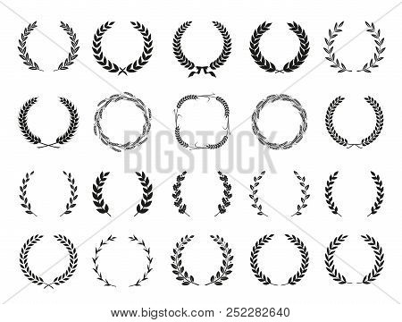 Collection Of Different Black And White Silhouette Circular Laurel Foliate, Wheat And Oak Wreaths De