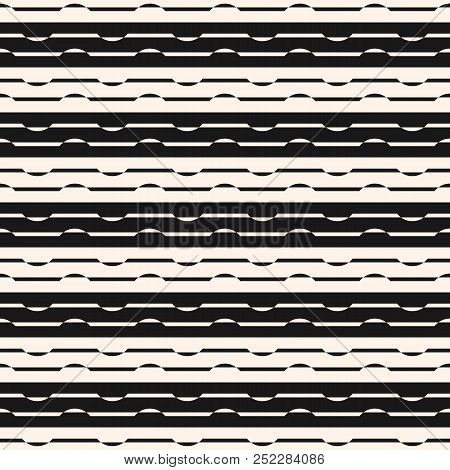 Horizontal Stripes Seamless Pattern. Abstract Linear Black And White Vector Background. Striped Grap