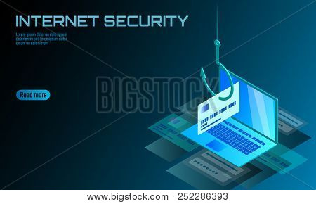 Isometric 3d Laptop Credit Card Cvv Password Phishing. Personal Information Account Email Online Sca