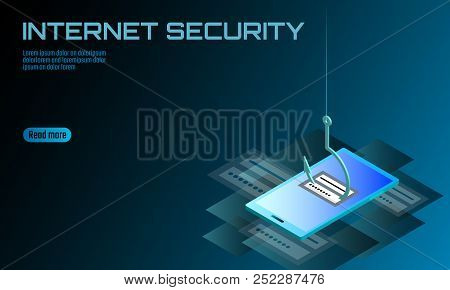 Isometric 3d Smartphone Login Password Phishing. Personal Information Account Email Hacker. Spam Ant