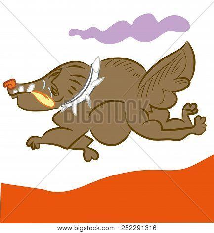 Running Dog.  Illustration Of Cute Running Dog. Cartoon Dog Running Very Speedly.