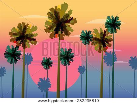 Tropical Sunrise At Seashore, Sea Landscape With Palms, Sailing Boat Minimalistic Illustration. Seas