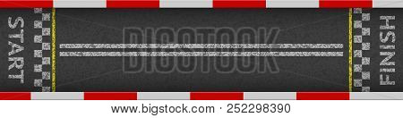 Finish Line Racing Background Top View. Art Design. Start Or Finish On Kart Race. Grunge Textured On