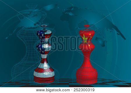Trade War Between Usa And China, Conceptual Collage. Chess Queens With American And Chines Flags Tex