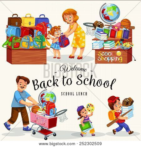 Happy Kids With Their Parents Buying Bags Books Stationery And Other Supplies In Store Vector Illust