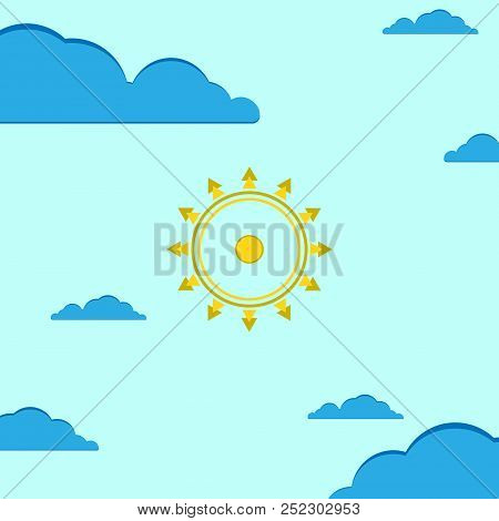 Sunny Weather, Cloudy. Vector Illustration. Sun And Cloud Weather Icon. Symbols And Icons Of Weather