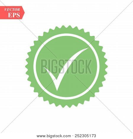 Tick Icon Vector Symbol, Green Checkmark Isolated On White Background, Checked Icon Or Correct Choic