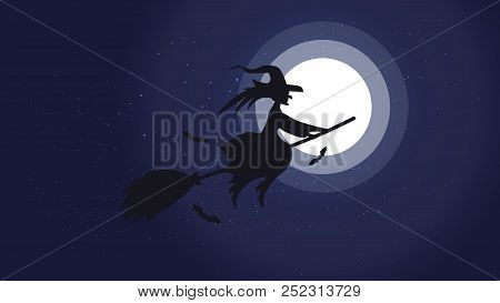 Halloween Night Background Picture With Flying Witch And Bats., Vector Elements For Banner, Greeting