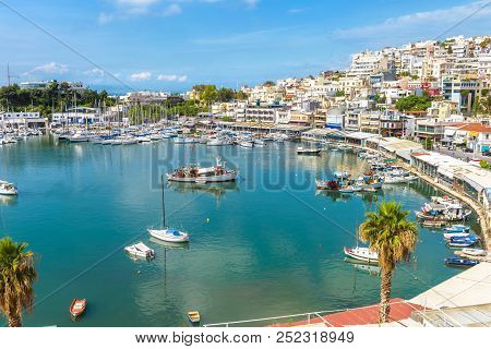 Mikrolimano Marina In Piraeus, Athens, Greece. Panoramic View Of The Beautiful Harbor With Sail Boat