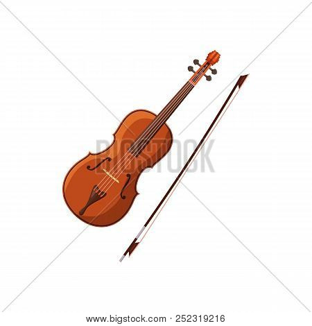 Violin With Fiddlestick Icon In Cartoon Style On A White Background