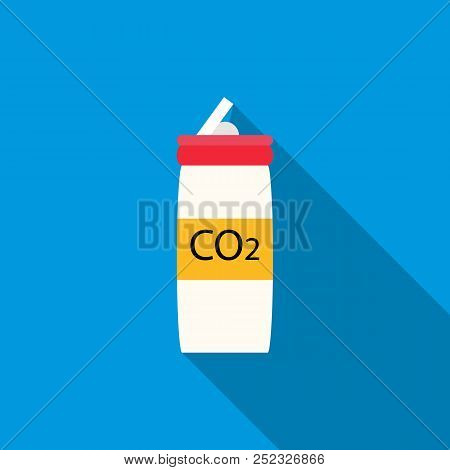 CO2 bottle for paintball icon in flat style with long shadow poster