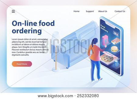 Isometric Food Ordering. Online Ordering And Fast Food Delivery Food Order Application Woman Looks M
