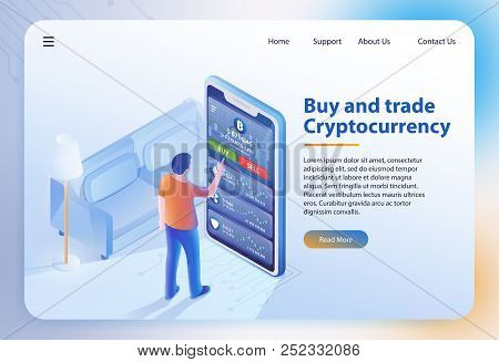 Buy And Trade Cryptocurrency. Mobile Bitcoin Business. Finance, Global Digital Money. Mobile App. Cr