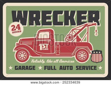 Truck Wrecker Vintage Banner, Auto Service Design