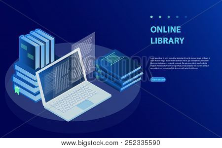 Laptop Computer With Library Books. Online Training Courses, Specialization, University Studies. Onl