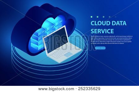 Isometric Cloud Storage Concept. Synchronization Backend Cloud Data Storage With Laptop. Concepts Cl