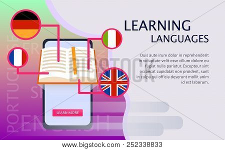 Online Learning Of Foreign Languages. Flat Illustration