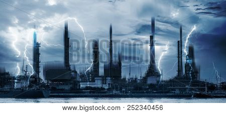 Power Plants Industry And Lightning Thunderstorm, Electrical Power