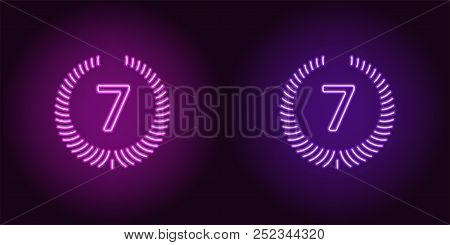 Neon Seventh Place In Purple And Violet Color. Vector Illustration Icon Of Seventh Position In Glowi