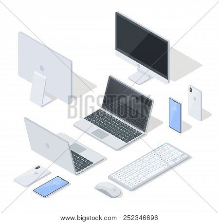 Isometric Projection Vector Set Of Various Modern Digital And Computer Devices. Laptop, Cellphone, C