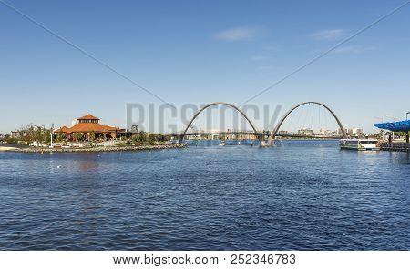 Elizabeth Quay Bridge In Perth City Western Australia