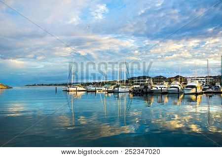 Peaceful Mindarie Marina , Perth Western Australia With Reflections In The Water