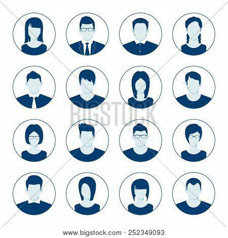 User Account Avatar. User Portrait  Icon Set. Businessman Portrait Silhouette. Default Avatar Profil