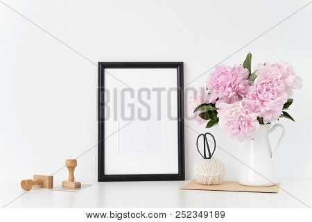White Portrait Frame Mock Up With A Pink Peonies Beside The Frame, Overlay Your Quote, Promotion, He