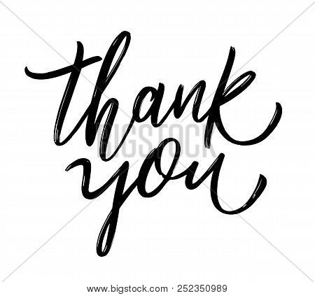 Thank You Handwritten Inscription. Hand Drawn Lettering. Thank You Card. Vector Illustration.