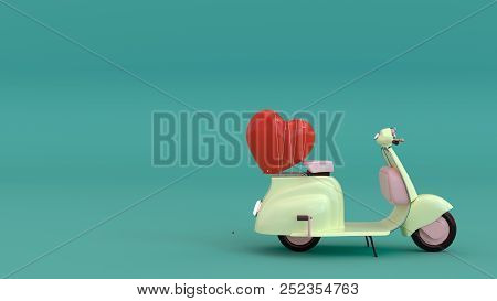 Classic Motorcycle With Red Heart,come With Love,fall In Love, 3d Illustration ,love You With All My